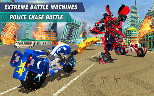 Flying Robot Police Chase- City Fighter War Robots screenshots 1